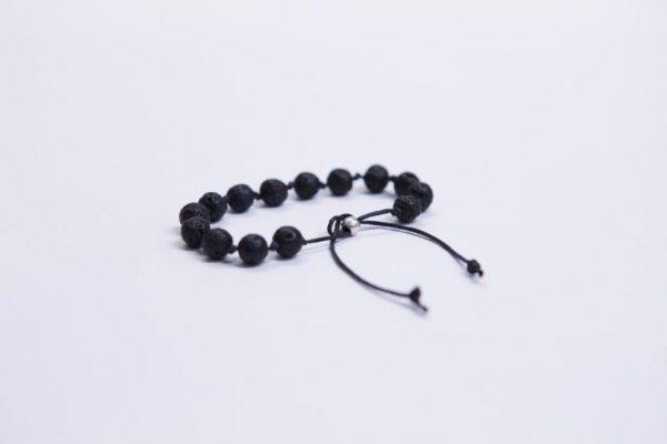 Mens basalt beads expendable bracelet